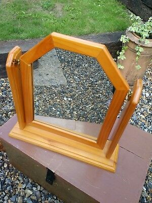 Pine Dressing Table Mirror on stand.18w x 16.5h (inches) Used item