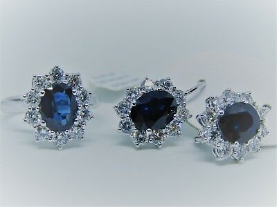 Set Ring Earrings White Solid Gold 18K Natural Diamonds And Sapphires Ct 7,80