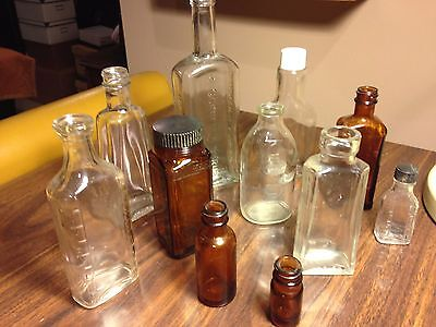 11 Assorted Antique Drug Store Apothecary Bottles Brown & Clear Glass