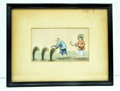 Antique Old Asian Chinese Tempera on Velum Painting Farmers Peasants Hanging Art
