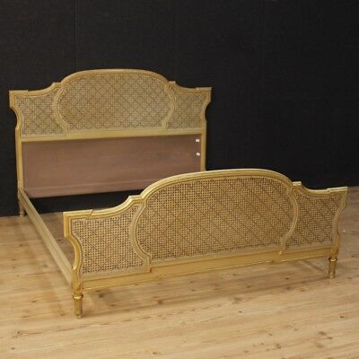 Double bed furniture Italian lacquered golden wood antique style Louis XVI