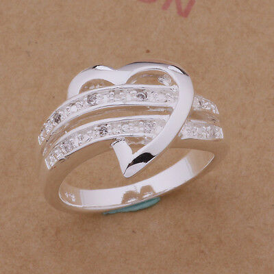 Heart Zircon Crystal Engagement Women's 925 Silver Wedding Band Size Ring 6-10