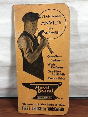 Vintage 1947 1948 Anvil Brand Men's Ware Clothing Workwear Clothes Advertising