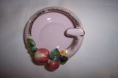 Mid Century L'amour China Porcelain Hand Painted Ashtray w/ Applied Fruit, #4080