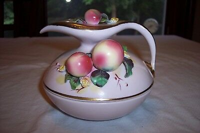 Vintage Geo Z Lefton Pink Porcelain Covered Dish w/ Applied Fruit