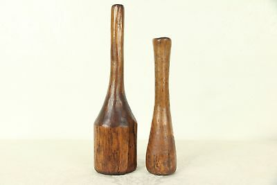 Pair Antique Hand Carved Oak Kitchen Pantry Mashers #29399