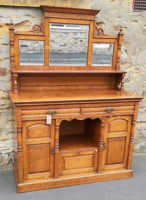 Edwardian Golden Oak Mirror Back Sideboard