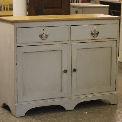 victorian painted pine two door base with drawers