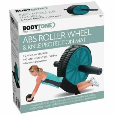 Dual Ab Wheel Roller Knee Mat Workout Training Fitness Exercise Gym Equipment