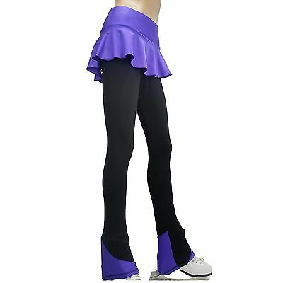 Ice Figure Skating Dress Practice Pants Trousers VCSP29sp skirtpants pink red