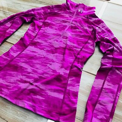 Womens Under Armour cold great pink camoflauge finger holes athletic top NWOT