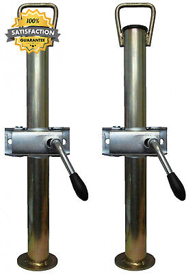 A pair of silver trailer prop stands corner steadys with handle 34mm...