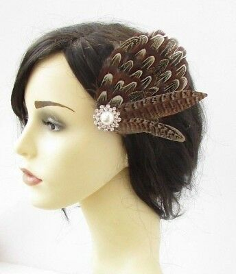 Brown Ivory Natural Coloured Pheasant Feather Fascinator Hair Clip Races 6192