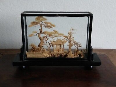 Vintage Hand Carved Wood Cork Asian Pagoda with Cranes in Glass Case