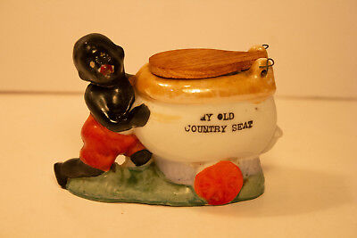 Vintage Porcelain Ceramic Black Americana Toilet Ashtray Lustre Japan