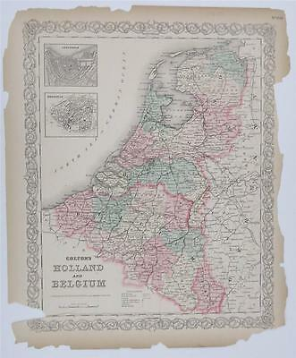 1855 1856 Colton's Antique Atlas Map Print Holland Belgium Netherlands