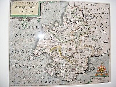 Antique 17Thc William Kip Map Of Pembroke Penbrok 1607 Christopher Saxton