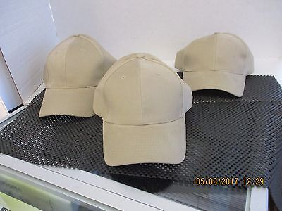 Vintage-Lot Of 3 New-Khaki/tan Caps/hats-Nissun-Stretch To Fit-[3039]