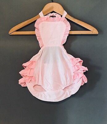 Vintage Ruffled Baby Romper in Pastel Pink Cotton / Baby Pink Sunsuit / Babydoll