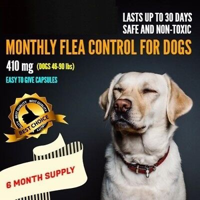 6 Monthly Capsules Flea Egg Killer 410mg Dogs 46-90 lbs FAST FREE SHIP