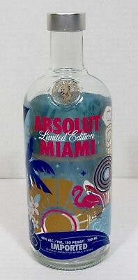 Absolut Vodka Miami Limited Edition 750ml Bottle Empty
