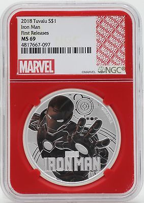 Iron Man 2018 Coin .999 Silver 1 Oz NGC MS69 Redcore Tuvalu Marvel Comic - JY922