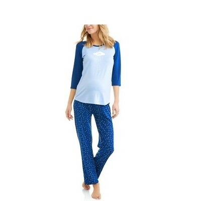 BLESSED CHILI PEPPERS Maternity SLEEPWEAR Reglan Shirt With Pants Pajama Set - L