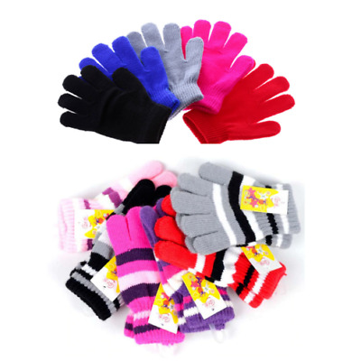1 Pair Girls Boys Kids Unisex Stretchy Knitted Winter Warm magic gloves