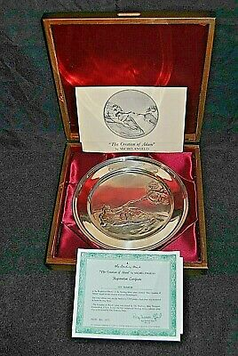 Vintage CREATION OF ADAM  by Michelangelo 1871 STERLING SILVER Plate - #129