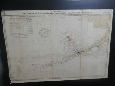 1894 US Naval Force in Bering Sea Track Chart Map Pacific Fleet Alaska Antique