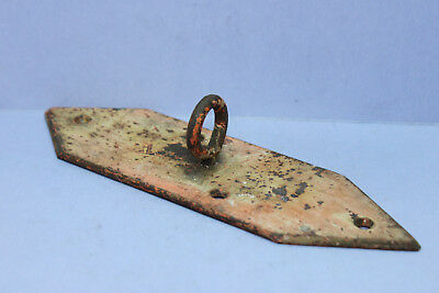 Vintage Antique Distressed Steel Backplate Plate w/ Welded Fixed Eyelet - 4-Hole