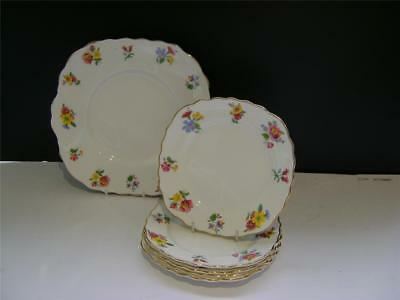 Pretty Cake/Sandwich Plate and 6 x Tea Plates in Floral Design by Vale.