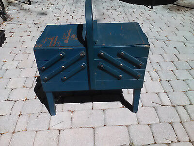 Antique Wood Fold Out Sewing Box Basket Vintage Cabinet Chest W/ Carry Handle