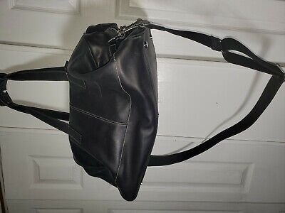 Coach Black Leather Cabin Duffle Bag H0S-0583, with lock. key and luggage tag
