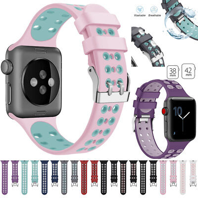 For Apple Watch Series4 3 2 1 Silicone Sports Bands iWatch Bracelet Buckle Strap