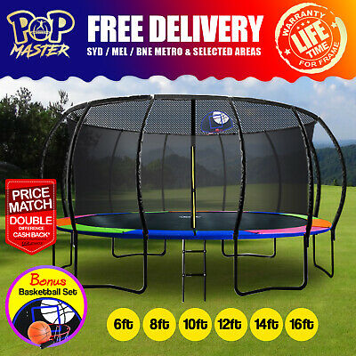 【XMAS SALE】6/8/10/12/14/16FT Curved/Flat Trampoline w/ Safety Net Pad Ladder AU