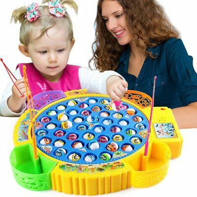 45 fishes Rotating Fish Fishing Rod Game W/ Music Playing Parent-child Gaming