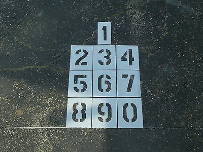 "4"" Number Stencils Parking Lot Number Playground Stencils 60 Mil Thick LDPE"