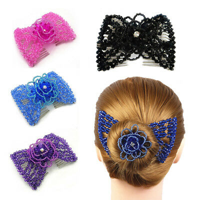 Fashion Women Magic Bead Stretchy Hair Comb Double Slide Metal Comb Clip Hairpin