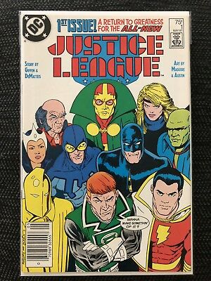 JUSTICE LEAGUE #1 (May 1987) UPC NEWSSTAND EDITION - 👀 Blue Beetle, Batman 💥