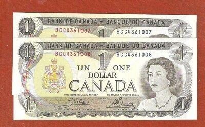 2 1973 Consecutive Serial Number One Dollar Bank Notes Uncirculated E55