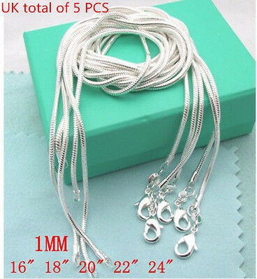 "16""-24"" 5PCS Wholesale 1MM SNAKE CHAIN 925STERLING SOLID SILVER JEWELRY NECKLACE"