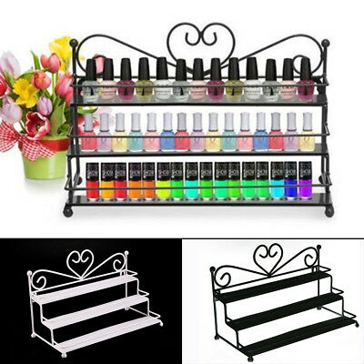 3-Tier Nail Polish Display Wall Rack Table Top Organizer Holder Black/White new