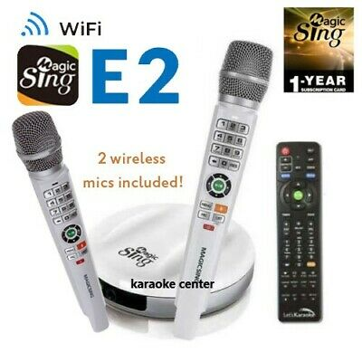 Magic Sing E2 WiFi TWO Wireless Karaoke Mic ENG + 2MON Tagalog Hindi Spanish ..