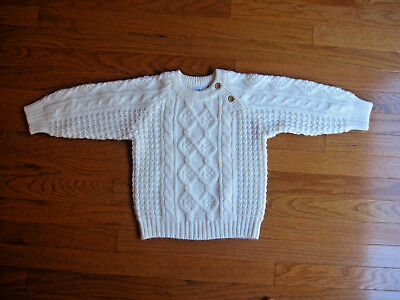 Grand Knitwear Childs Cable Knit Pullover Sweater Ivory Kids Size 4T Unisex EUC