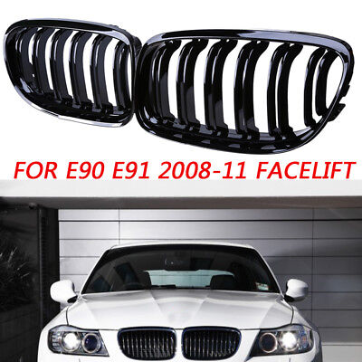 Fit BMW 3 Series E90 E91 Facelift 08-11 Gloss Black Front Kidney Grille Grill UK