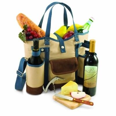 Picnic Time Wine Country Tote with Cheese Service and Corkscrew, Tan/Blue
