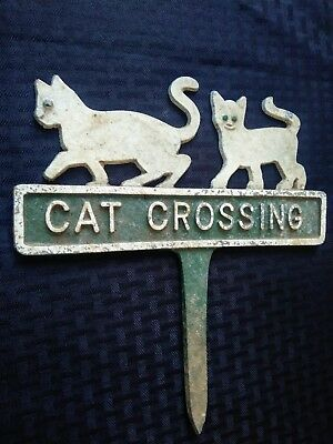 Vintage CAT CROSSING Sign Embossed Cast Metal Garden Yard Art Pair of Kittens
