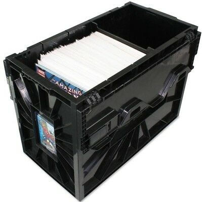 BCW Short Comic Book Storage Bin Box Black Plastic with 4 Partitions