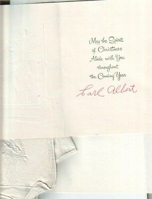 Carl Albert Gifted Handkerchief / Letter & Autographed Christmas Card Politician
